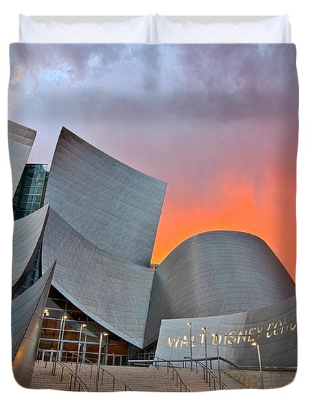 Sunset At The Walt Disney Concert Hall In Downtown Los Angeles. Duvet Cover by Jamie Pham