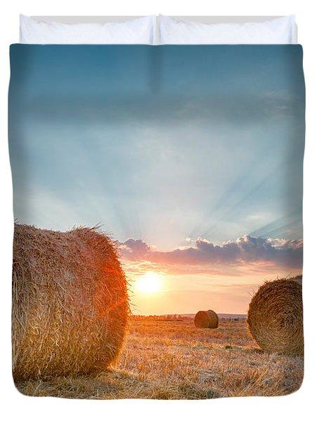Sunset Bales Duvet Cover by Evgeni Dinev
