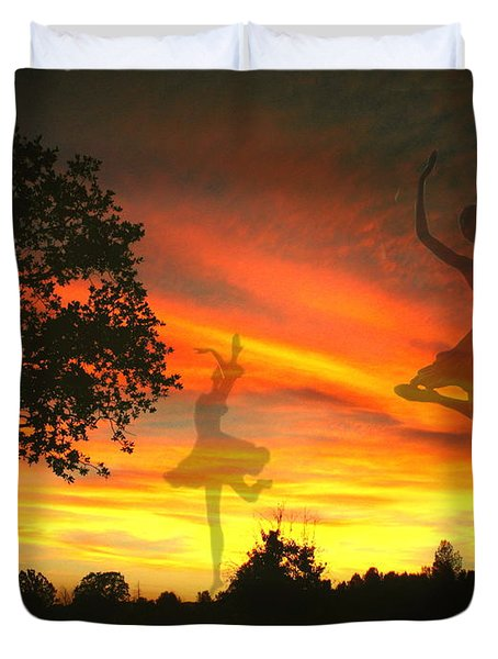 Sunset Ballerina Duvet Cover by Joyce Dickens