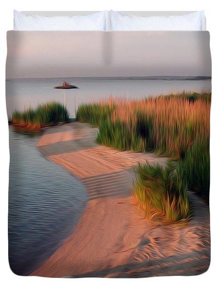 Duvet Cover featuring the digital art Sunset Beach by Kelvin Booker
