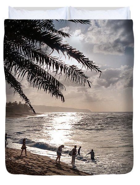 Sunset Beach Park Duvet Cover