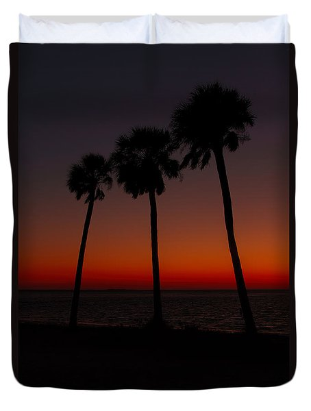 Sunset Beach Silhouette Duvet Cover