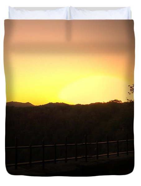 Duvet Cover featuring the photograph Sunset Behind Hills by Jonny D