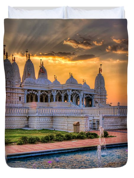 Sunset Behind The Mandir Duvet Cover