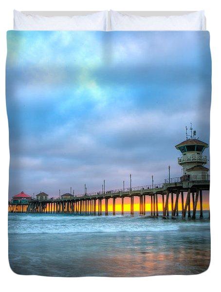 Sunset Beneath The Pier Duvet Cover