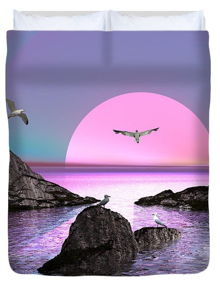 Sunset Birds In Flight Duvet Cover