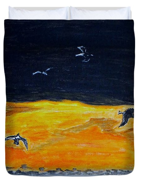 Sunset Birds Duvet Cover by Sonali Gangane