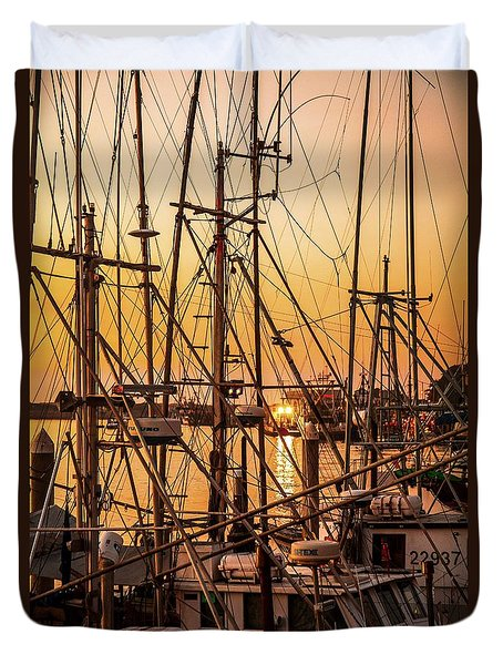 Sunset Boat Masts At Dock Morro Bay Marina Fine Art Photography Print Sale Duvet Cover by Jerry Cowart