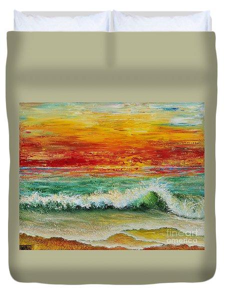 Duvet Cover featuring the painting Sunset Breeze by Teresa Wegrzyn