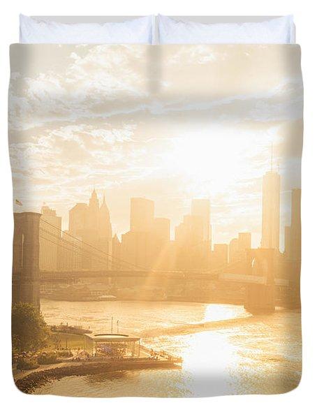 Sunset - Brooklyn Bridge - New York City Duvet Cover