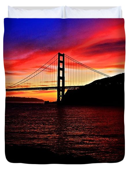 Duvet Cover featuring the photograph Sunset By The Bay by Dave Files