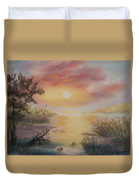 Duvet Cover featuring the painting Sunset By The Lake by Katalin Luczay