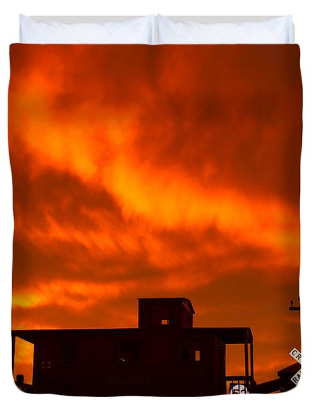 Sunset Caboose Duvet Cover