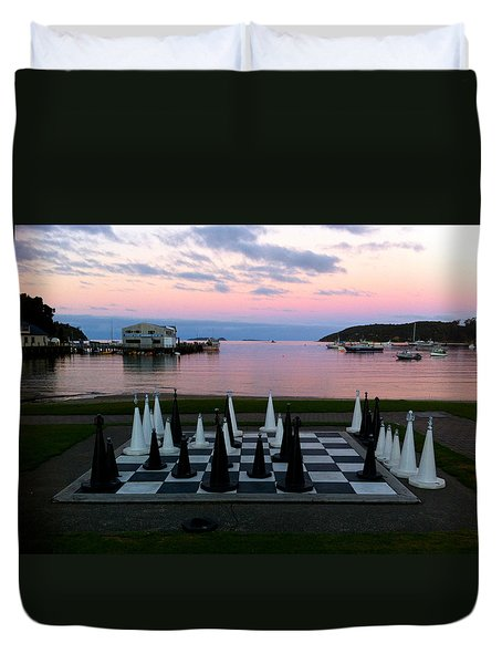 Sunset Chess At Half Moon Bay Duvet Cover