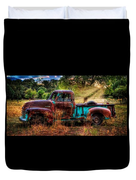 Sunset Chevy Pickup Duvet Cover by Ken Smith