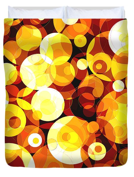 Duvet Cover featuring the digital art Sunset Circles by Shawna Rowe