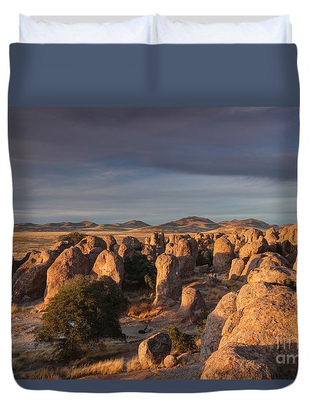 Duvet Cover featuring the photograph Sunset City Of Rocks by Martin Konopacki