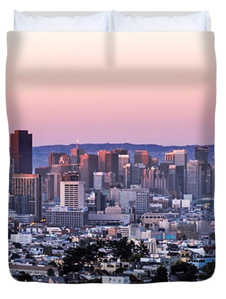 Duvet Cover featuring the photograph Sunset Cityscape by Kate Brown