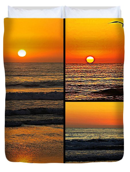 Sunset Collage Duvet Cover by Sharon Soberon