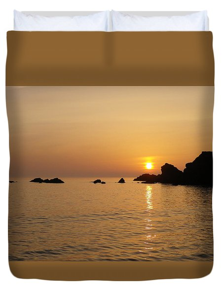 Sunset Crooklets Beach Bude Cornwall Duvet Cover