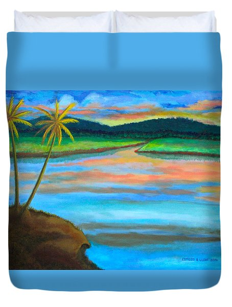 Duvet Cover featuring the painting Sunset  by Cyril Maza