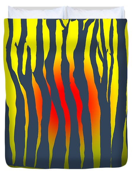 Duvet Cover featuring the photograph Sunset Deep In The Forest by Haleh Mahbod