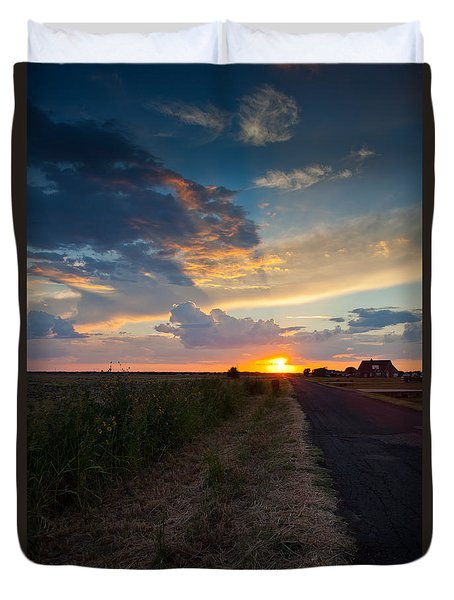 Sunset Down A Country Road Duvet Cover
