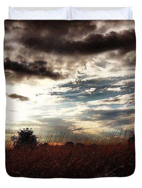 #sunset #dusk #landscape #rural #sky Duvet Cover by Vicki Field