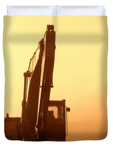 Sunset Excavator Duvet Cover