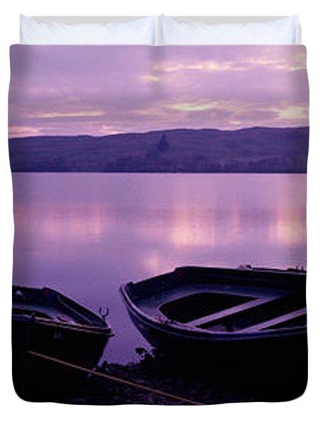 Sunset Fishing Boats Loch Awe Scotland Duvet Cover