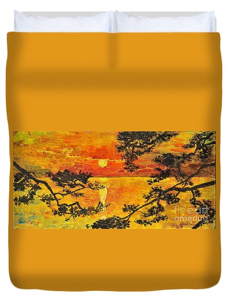 Duvet Cover featuring the painting Sunset For My Parents by Teresa Wegrzyn