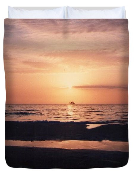Sunset From Clearwater Beach Duvet Cover