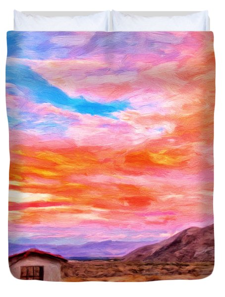 Sunset From Palm Canyon Duvet Cover by Michael Pickett