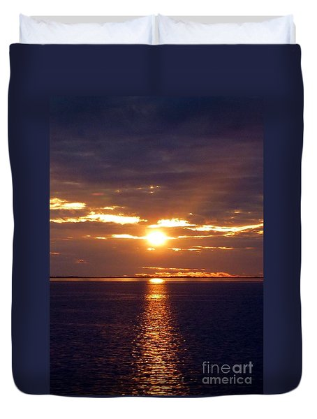 Sunset From Peace River Bridge Duvet Cover by Barbie Corbett-Newmin