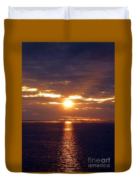 Sunset From Peace River Bridge Duvet Cover