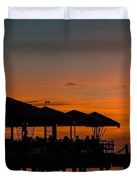 Sunset From Pelican Pier Duvet Cover