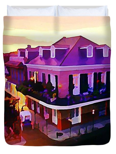 Sunset From The Balcony In The French Quarter Of New Orleans Duvet Cover by John Malone