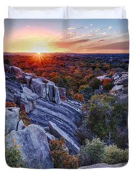 Sunset From The Top Of Little Rock At Enchanted Rock State Park - Fredericksburg Texas Hill Country Duvet Cover