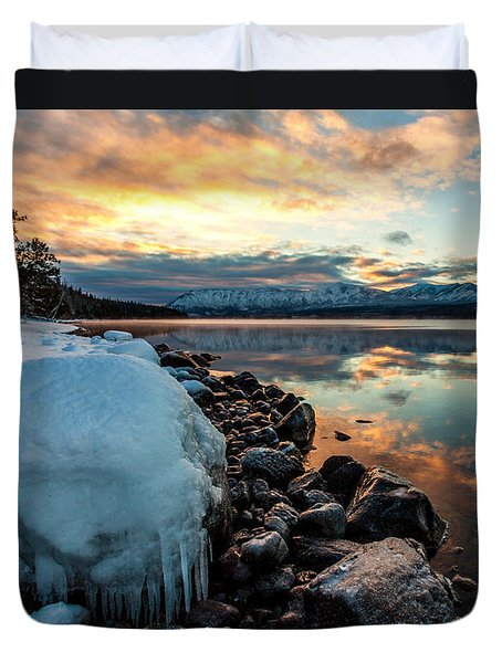 Duvet Cover featuring the photograph Sunset Frozen by Aaron Aldrich