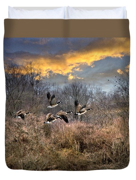 Sunset Geese Duvet Cover by Christina Rollo