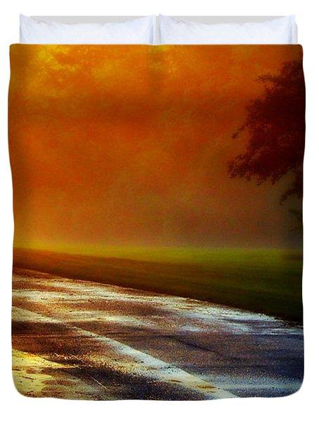 Sunset Glint In The Mist Duvet Cover