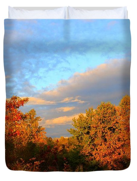 Duvet Cover featuring the photograph Sunset Glow by Kathryn Meyer