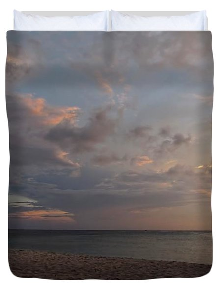 Sunset Grand Cayman Duvet Cover by Peggy Hughes