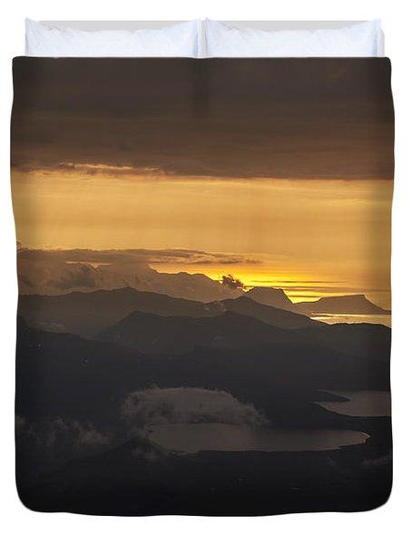 Duvet Cover featuring the photograph Sunset by Gunnar Orn Arnason
