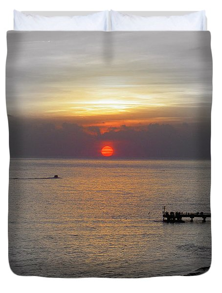 Duvet Cover featuring the photograph Sunset  by Haleh Mahbod