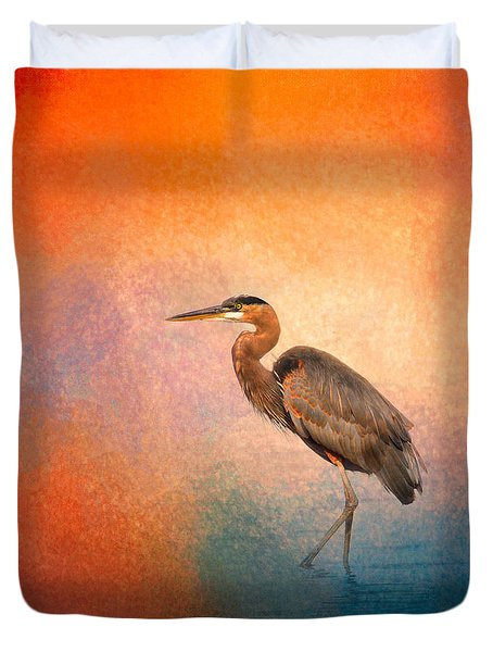 Sunset Heron Duvet Cover