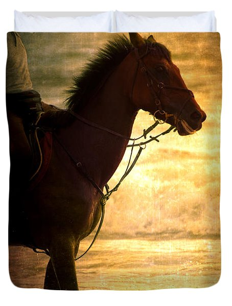 Sunset Horse Duvet Cover by Loriental Photography