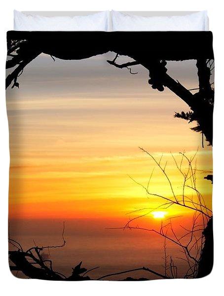 Sunset In A Tree Frame Duvet Cover