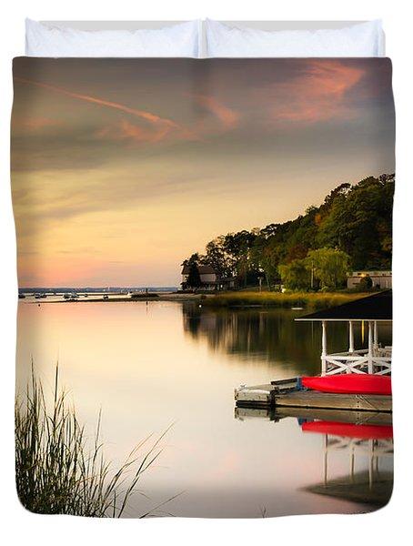 Sunset In Centerport Duvet Cover