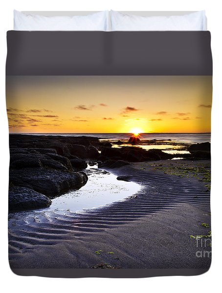 Duvet Cover featuring the photograph Sunset In Iceland by Gunnar Orn Arnason